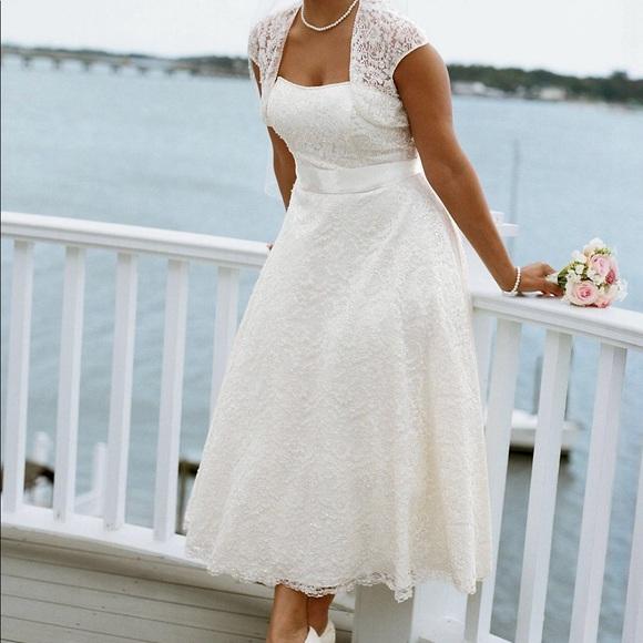 David\'s Bridal Dresses | Davids Bridal Plus Size Tea Length Dress ...